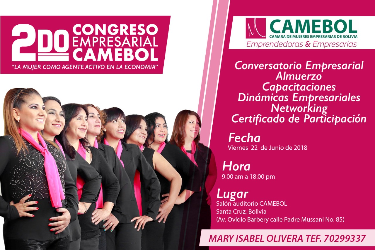 Se viene el 2o congreso de las Mujeres Empresarias de Bolivia