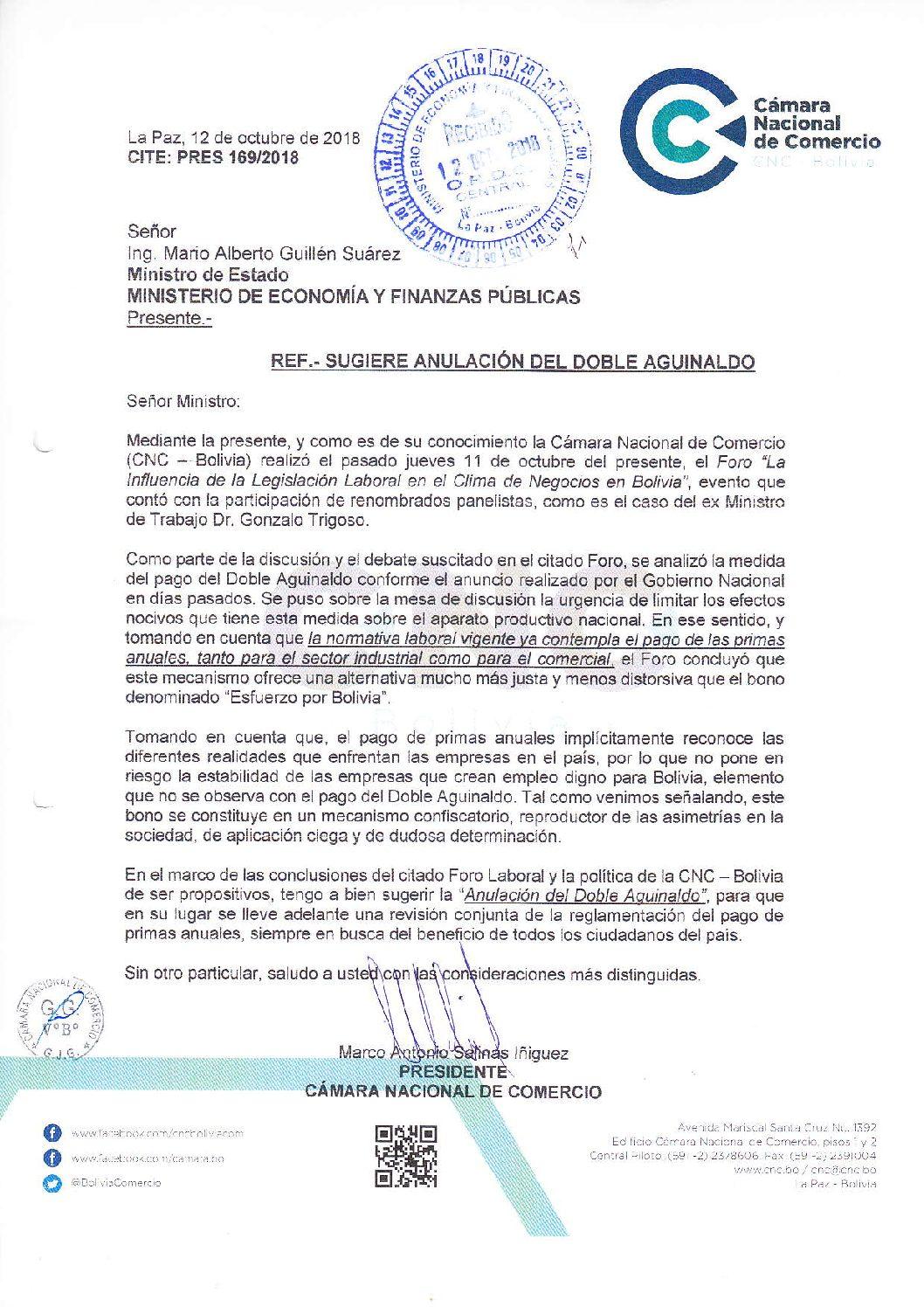 Presidente Cámara nacional de Comercio pide anular doble aguinaldo