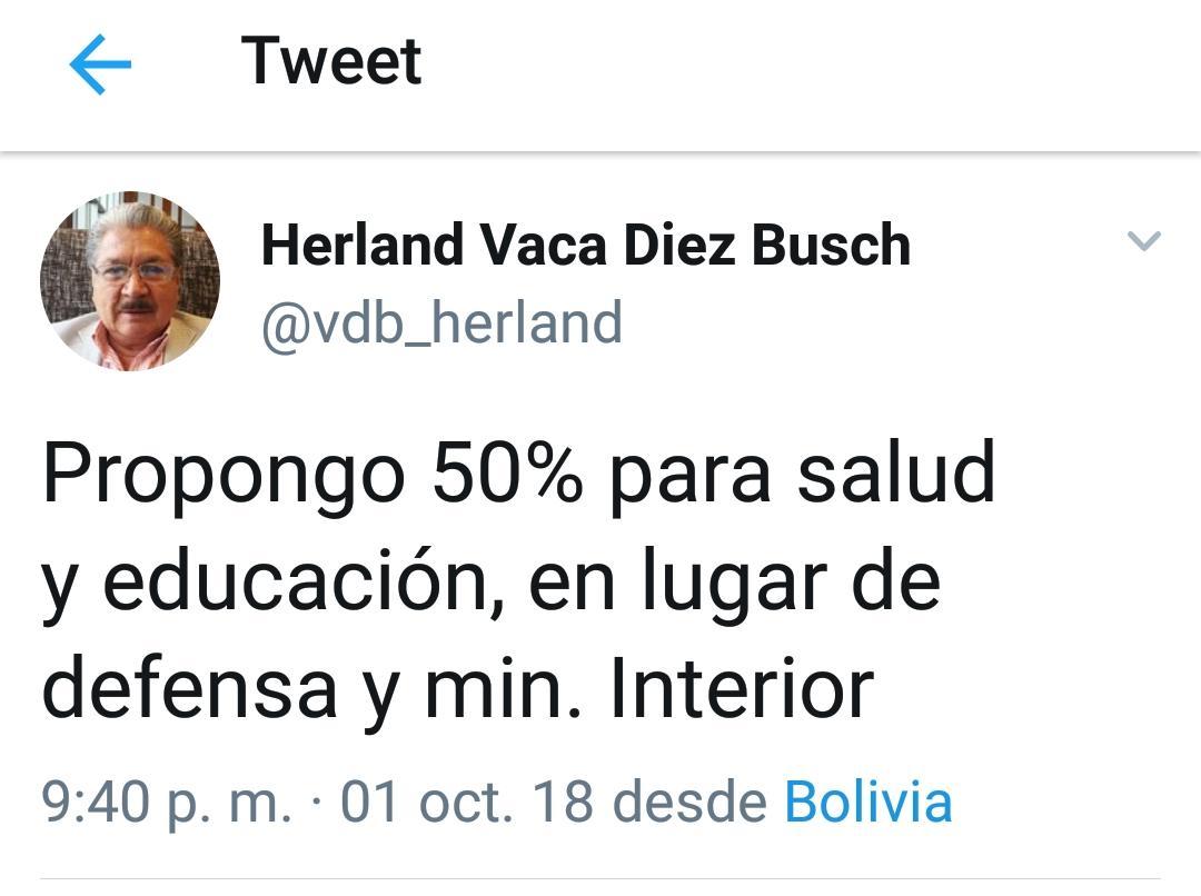 Excívico Herland Vaca Díez propone 50% del presupuesto para la salud