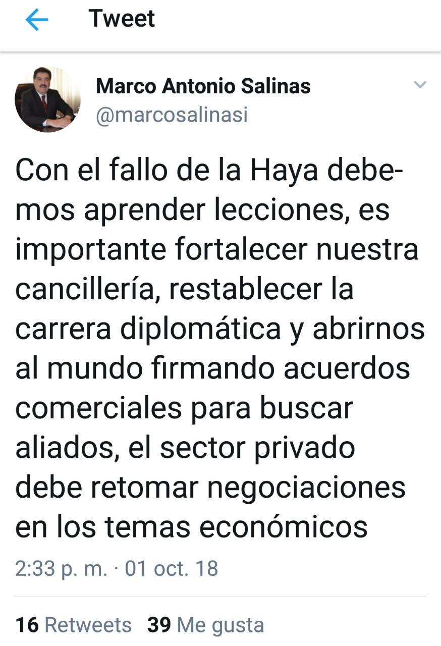 Presidente Cámara nacional de Comercio: con el fallo de La Haya es importante fortalecer nuestra Cancillería