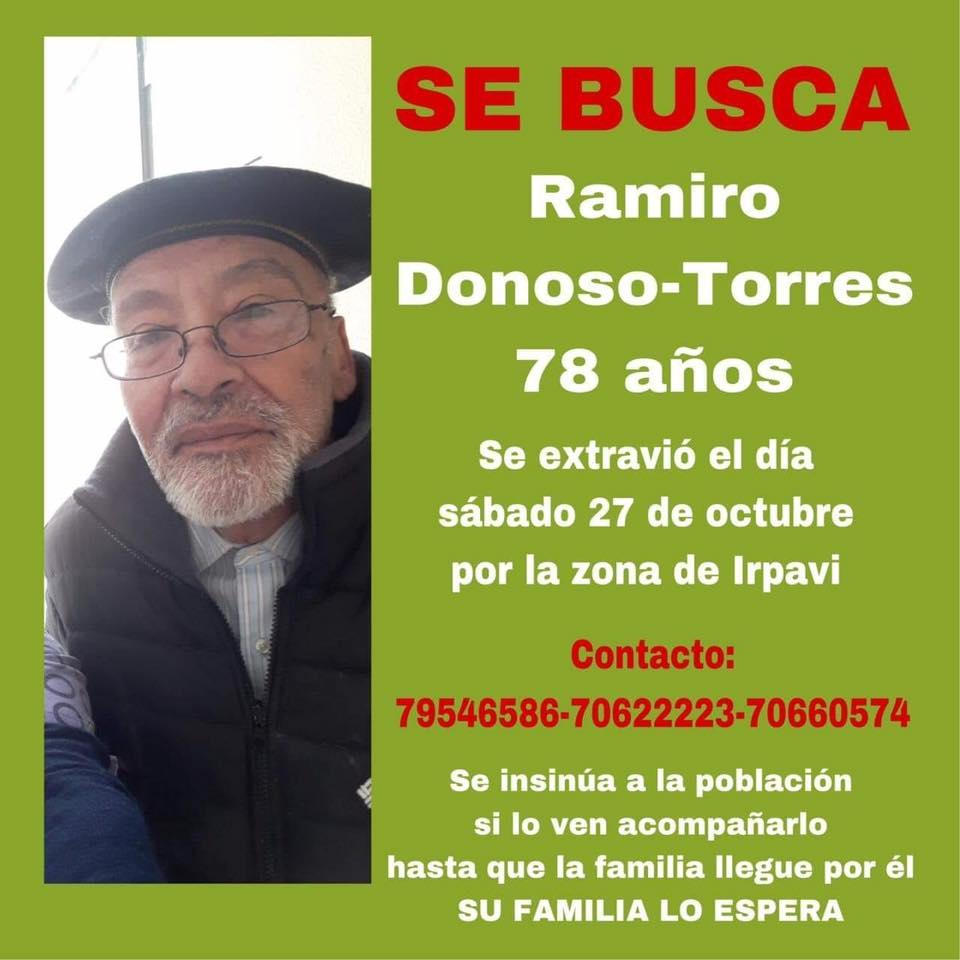 Servicio a la comunidad: persona extraviada Ramiro Donoso Torres