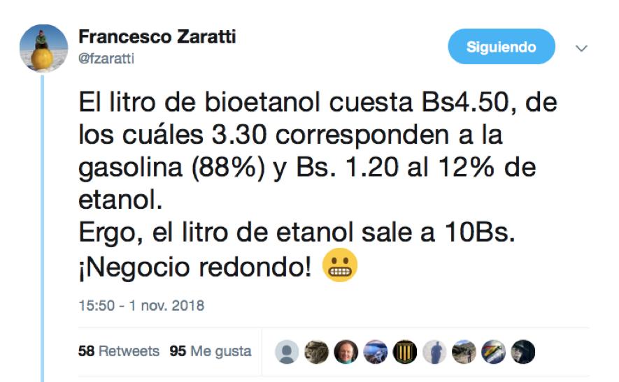 ExDelegado de la Capitalización cuestiona precio del bioetanol