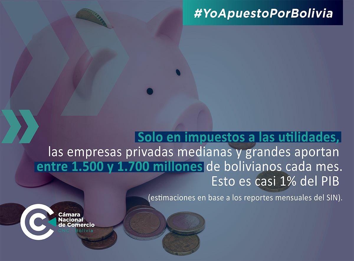 Sólo en impuestos las compañías privadas aportan 1700 millones de Bs mensuales al estado boliviano