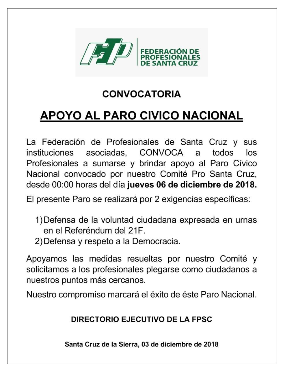 Federación de Profesionales de Santa Cruz convoca a apoyar el paro Cívico Nacional