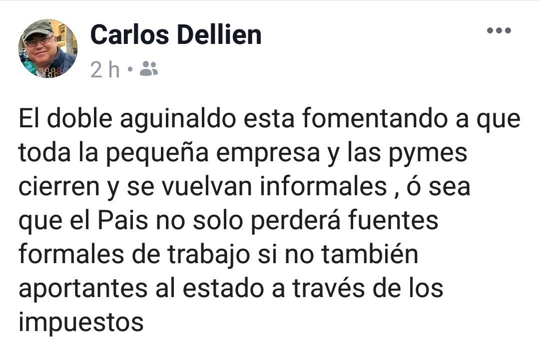 Doble aguinaldo fomenta informalidad: exsecretario de Gobernación del Beni Carlos Dellién