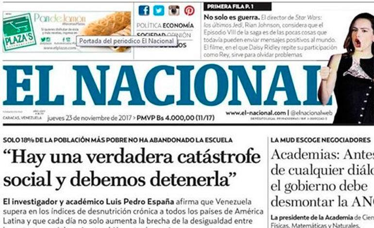 Solidaridad con diario venezolano El Nacional