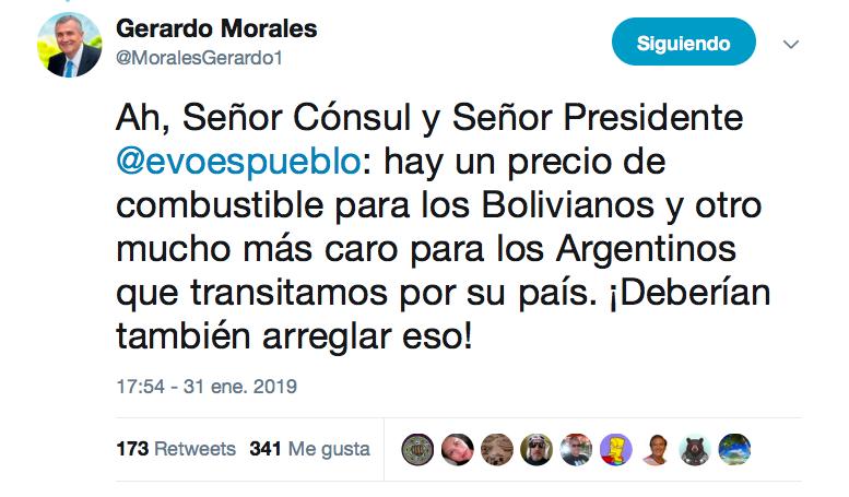 Gobernador de Jujuy, Argentina, reclama a Presidente boliviano sobre precio diferenciado de combustibles.