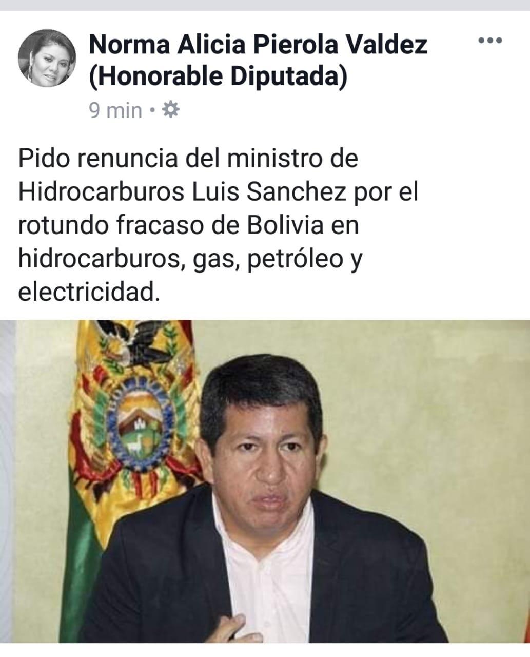 Diputada Norma Piérola pide renuncia de ministro de Hidrocarburos Luis Sánchez