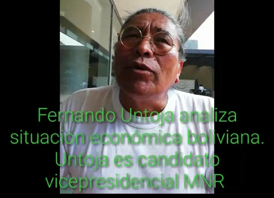 Candidato vicepresidencial Fernando Untoja hace un análisis profundo de la realidad económica boliviana