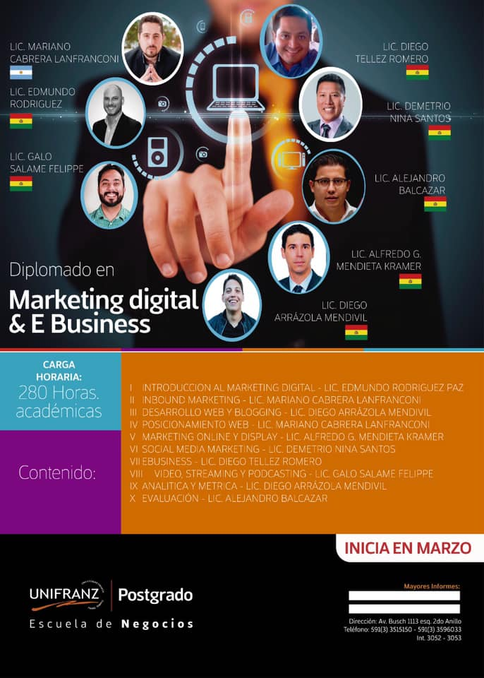 Unifranz lanza un Diplomado de Alto Nivel en Marketing digital & E-business