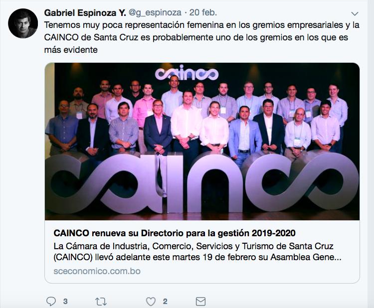 Siguen críticas a CAINCO por ausencia de mujeres en su Directorio