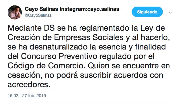 Abogado Cayo Salinas cuestiona el decreto reglamentario a la Ley de Empresas Sociales