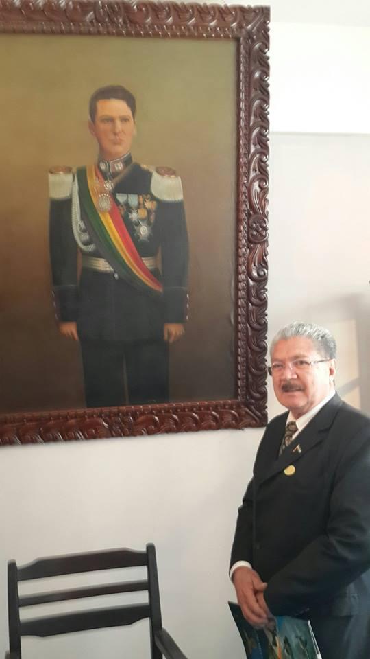 """Homenaje al presidente de Bolivia German Busch Becerra (1937-1939): """"Que Bolivia sea lo que debe ser: Grande, Fuerte y Poderosa""""."""