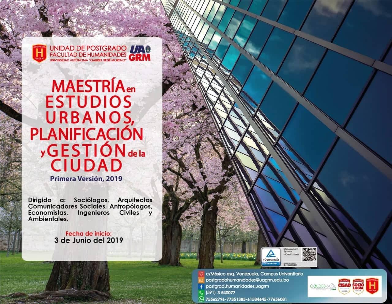 La UAGRM dictará La Maestría en Estudios Urbanos y Planificación
