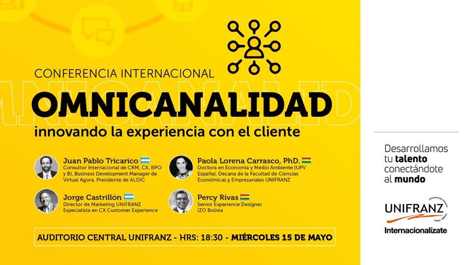 """Universidad Unifranz organiza: conferencia """"OMNICANALIDAD, INNOVANDO LA EXPERIENCIA CON EL CLIENTE""""."""