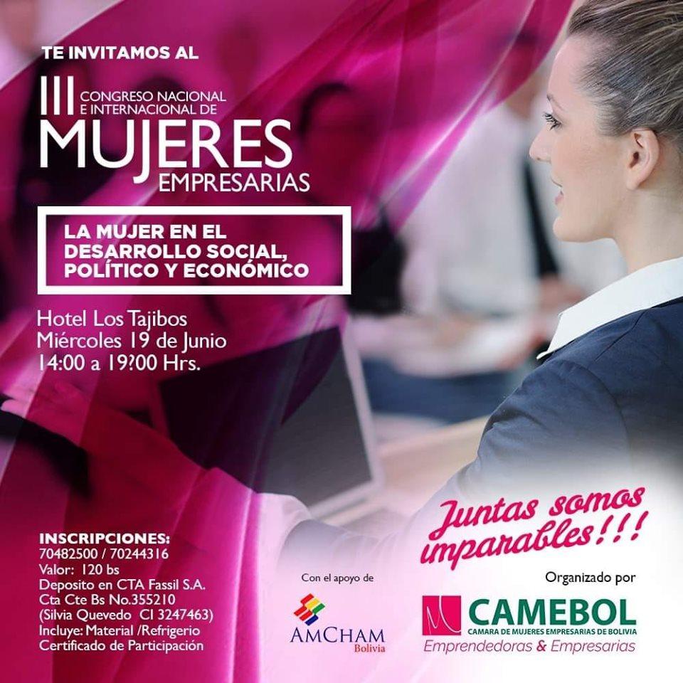 CAMEBOL prepara lll congreso de mujeres empresarias bolivianas