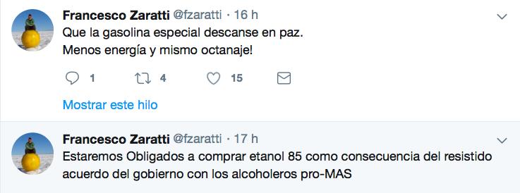 Experto Zaratti critica disposición gubernamental sobre gasolina especial