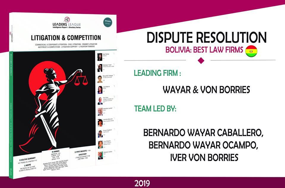 Prestigiosa revista francesa califica a estudio de abogados Wayar & Von Borries firma líder en resolución de disputas