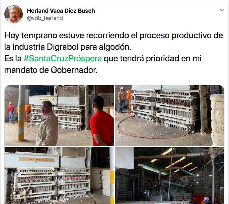 #SantaCruzPróspera: excívico Herland Vaca Díez muestra la Santa Cruz productiva