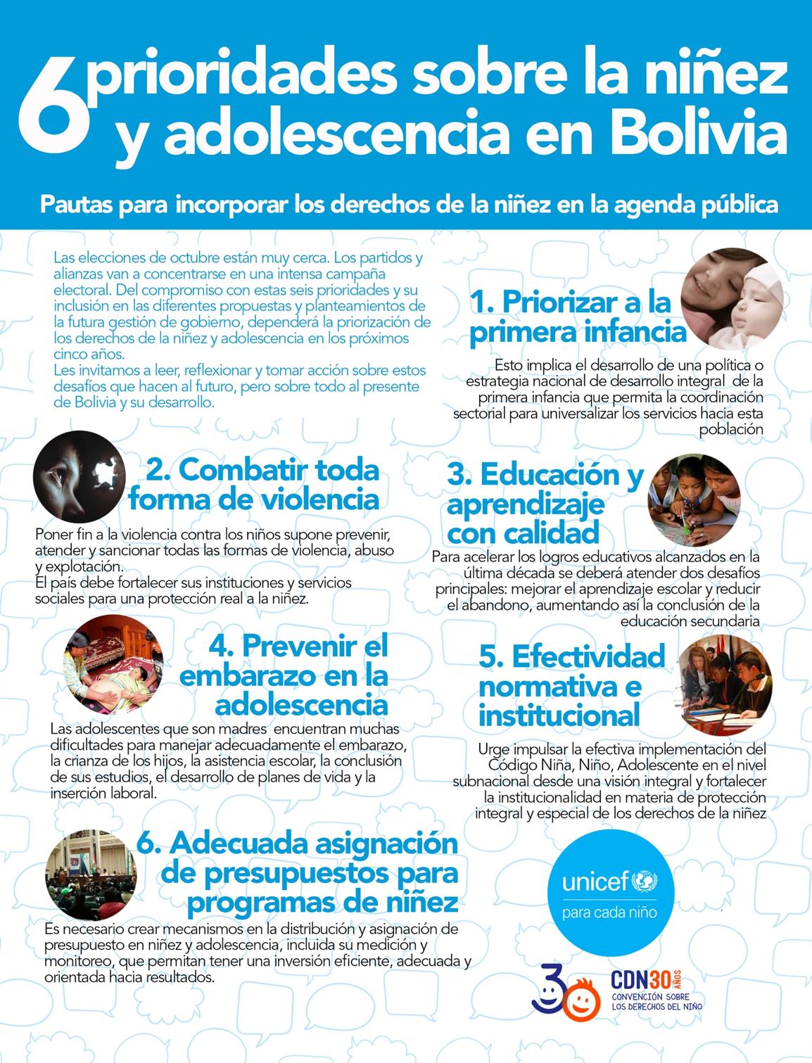 UNICEF: 6 prioridades para la niñez para la agenda pública y económica