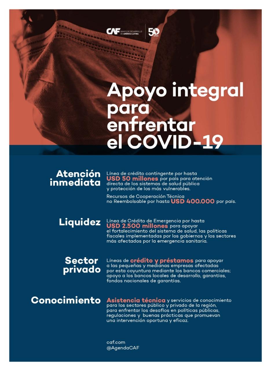 CAF otorga crédito de USD 50 millones a Bolivia para atender la emergencia sanitaria ocasionada por el COVID-19