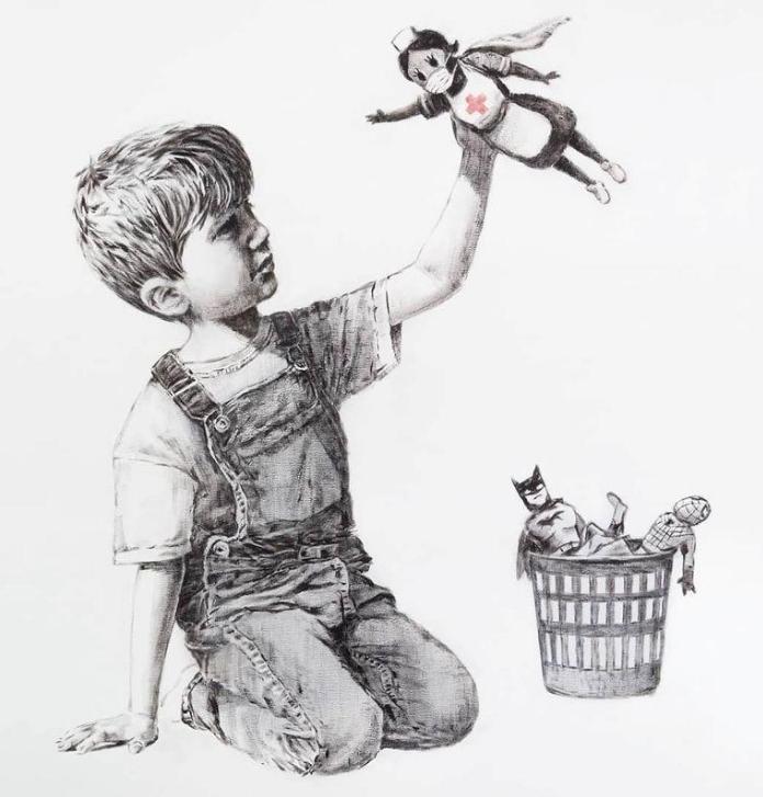 Una enfermera británica es la superheroína en la nueva obra de arte de Banksy