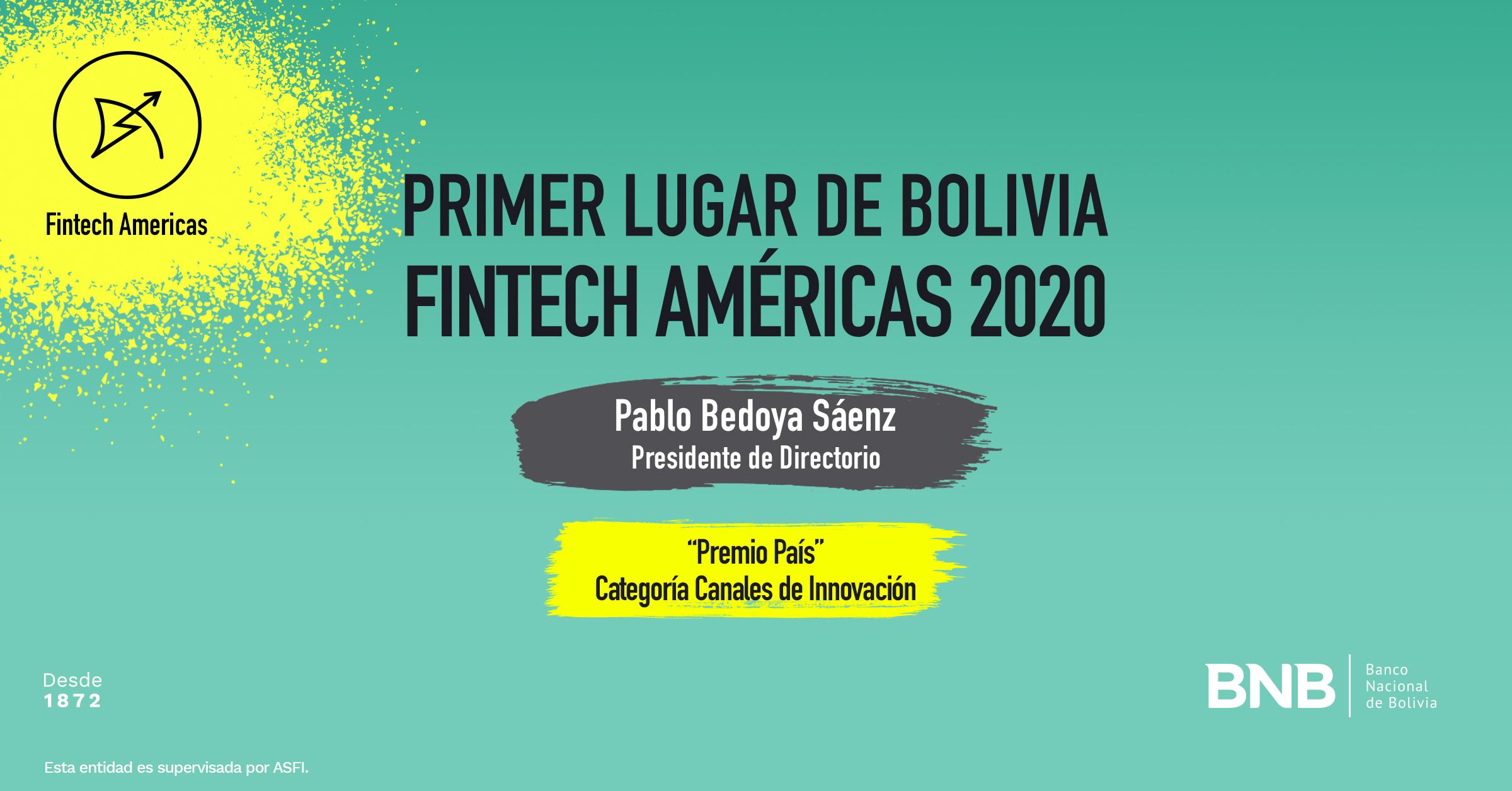 Pablo Bedoya, en nombre del BNB, recibe el primer lugar a los Innovadores Financieros en las Américas 2020.