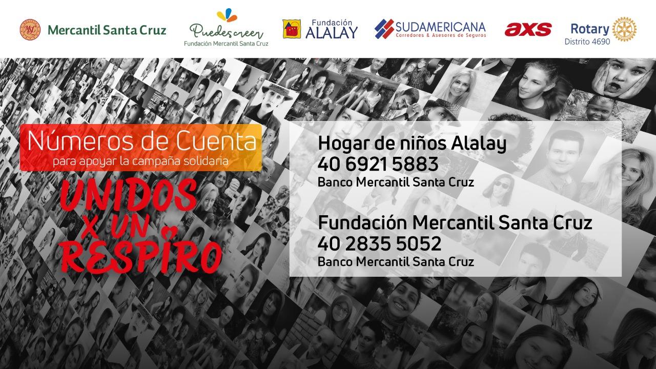 """La Fundación Alalay con el apoyo del Banco Mercantil Santa Cruz, Rotary Club, Sudamericana Seguros, AXS y Neurocenter impulsan la campaña """"Unidos por un respiro"""" para recaudar fondos"""