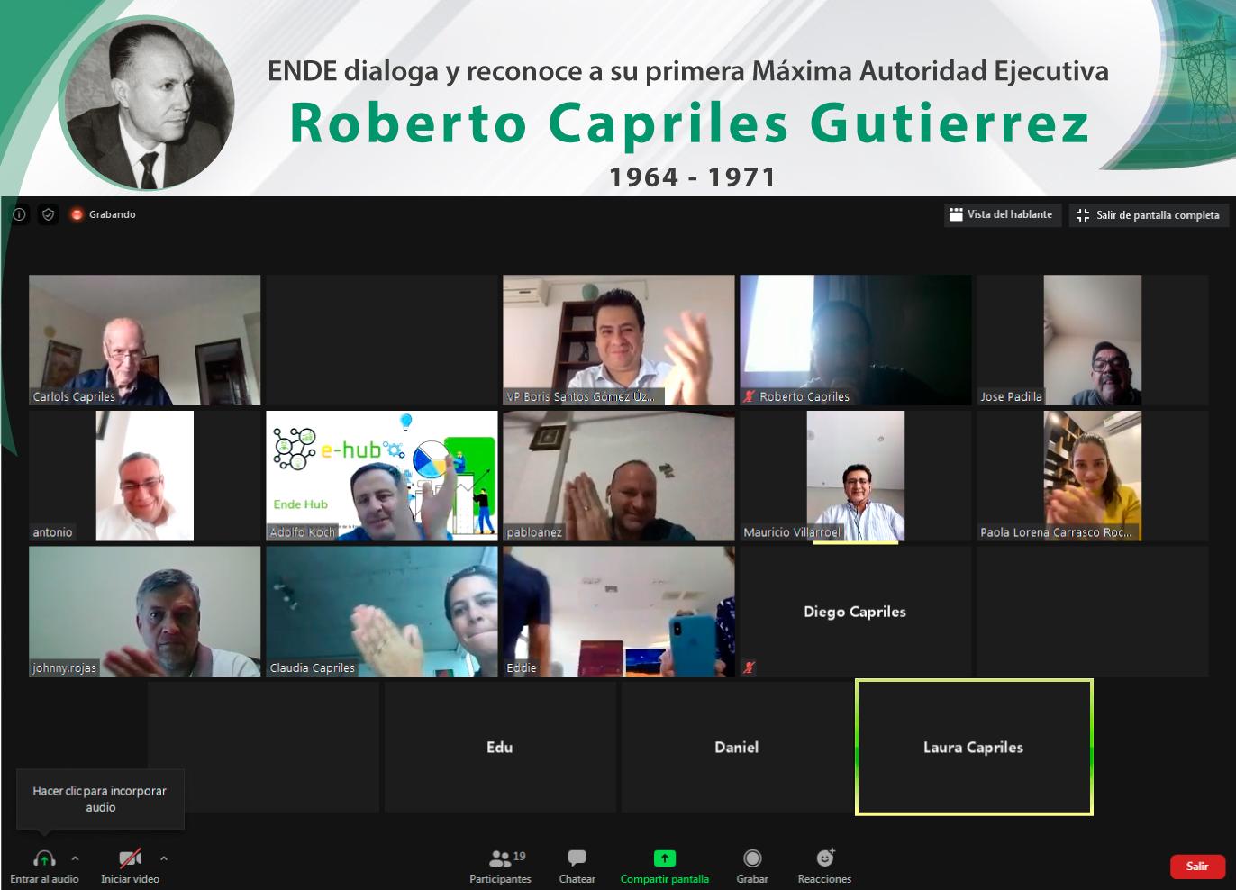 ENDE Corporación otorgó un reconocimiento especial a su primera máxima autoridad ejecutiva, Roberto Capriles Gutiérrez