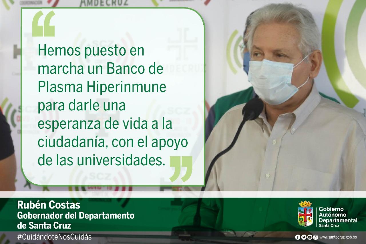 Gobernación pone en marcha el Banco de Plasma Hiperinmune